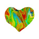 Happy Multicolor Painting Standard 16  Premium Flano Heart Shape Cushions Back