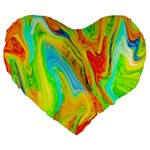 Happy Multicolor Painting Large 19  Premium Flano Heart Shape Cushions Front