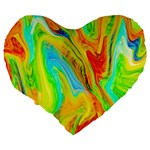 Happy Multicolor Painting Large 19  Premium Flano Heart Shape Cushions Back