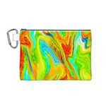 Happy Multicolor Painting Canvas Cosmetic Bag (M) Front