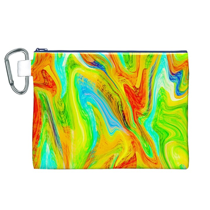 Happy Multicolor Painting Canvas Cosmetic Bag (XL)