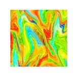 Happy Multicolor Painting Small Satin Scarf (Square) Front