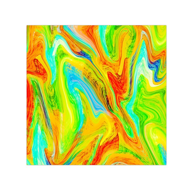 Happy Multicolor Painting Small Satin Scarf (Square)