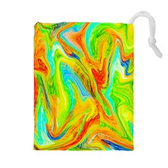 Happy Multicolor Painting Drawstring Pouches (Extra Large)