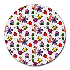 Doodle Pattern Round Mousepads