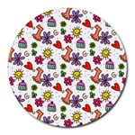 Doodle Pattern Round Mousepads Front