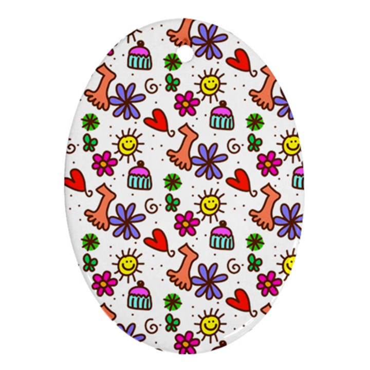 Doodle Pattern Ornament (Oval)