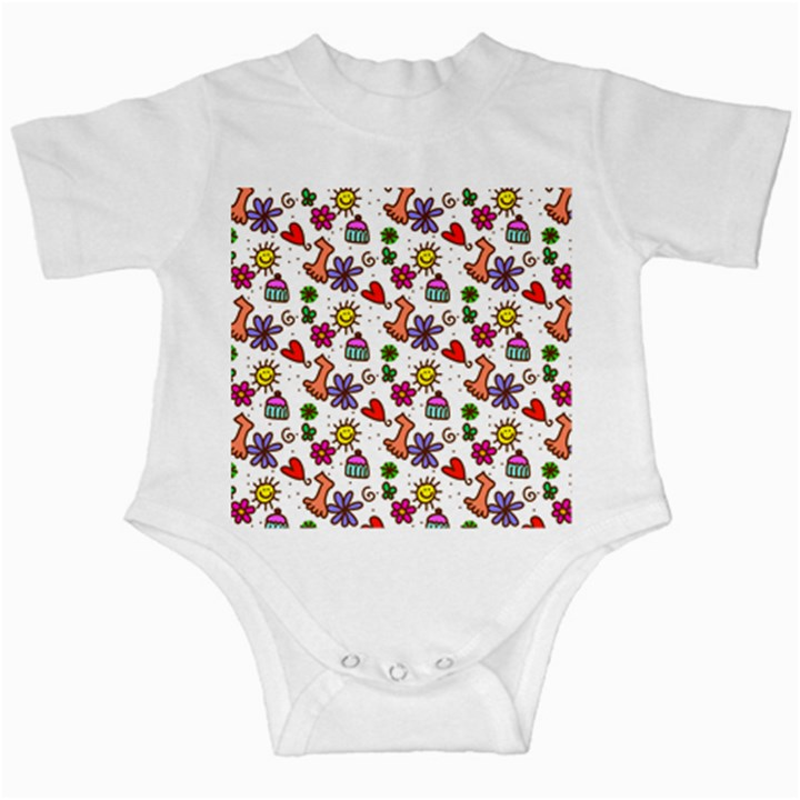 Doodle Pattern Infant Creepers