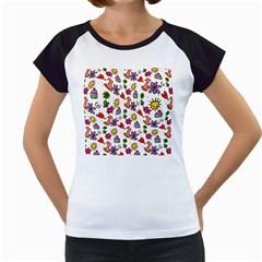 Doodle Pattern Women s Cap Sleeve T