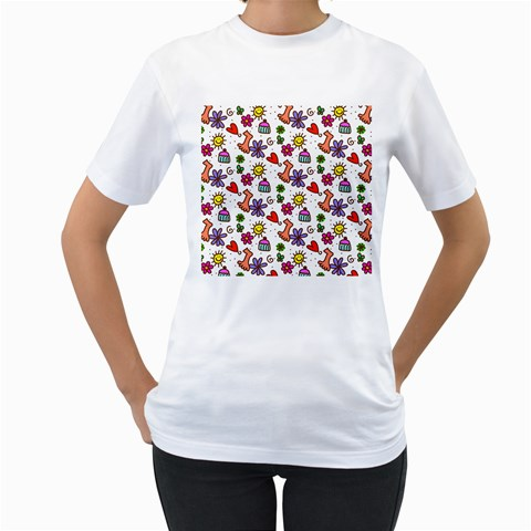 Doodle Pattern Women s T-Shirt (White) (Two Sided)