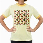 Doodle Pattern Women s Fitted Ringer T-Shirts Front