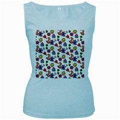Doodle Pattern Women s Baby Blue Tank Top