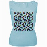 Doodle Pattern Women s Baby Blue Tank Top Front