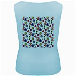 Doodle Pattern Women s Baby Blue Tank Top Back