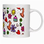 Doodle Pattern White Mugs Right