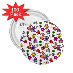 Doodle Pattern 2.25  Buttons (100 pack)