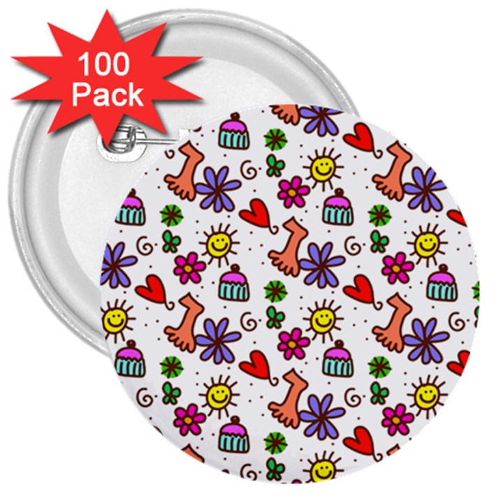 Doodle Pattern 3  Buttons (100 pack)