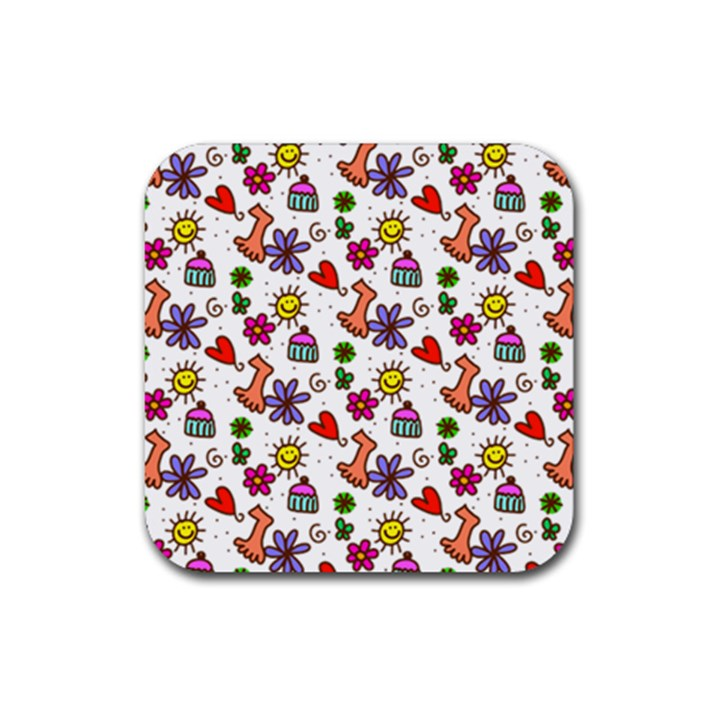 Doodle Pattern Rubber Coaster (Square)