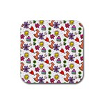 Doodle Pattern Rubber Square Coaster (4 pack)  Front