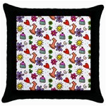 Doodle Pattern Throw Pillow Case (Black) Front