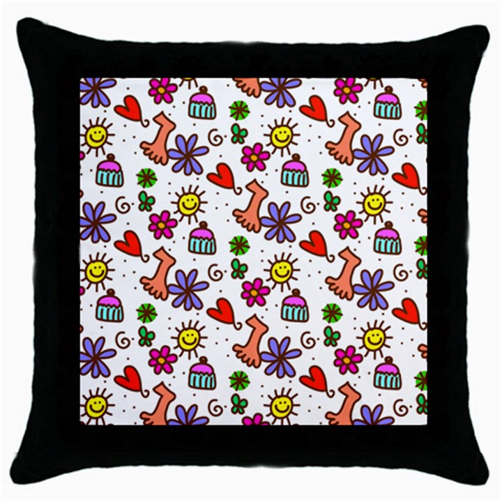 Doodle Pattern Throw Pillow Case (Black)