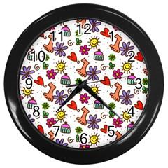 Doodle Pattern Wall Clocks (Black)