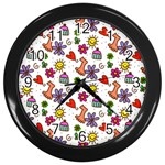 Doodle Pattern Wall Clocks (Black) Front