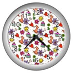 Doodle Pattern Wall Clocks (Silver)  Front