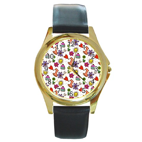 Doodle Pattern Round Gold Metal Watch