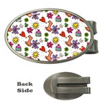 Doodle Pattern Money Clips (Oval)  Front