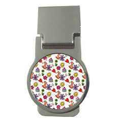 Doodle Pattern Money Clips (Round)