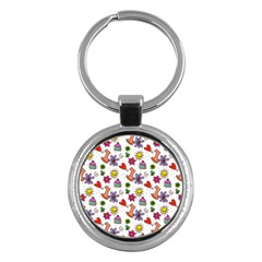 Doodle Pattern Key Chains (Round)