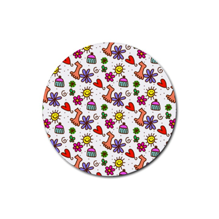 Doodle Pattern Rubber Coaster (Round)