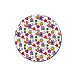 Doodle Pattern Rubber Round Coaster (4 pack)  Front