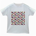 Doodle Pattern Kids White T-Shirts Front