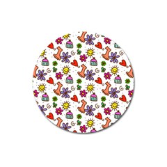 Doodle Pattern Magnet 3  (Round)