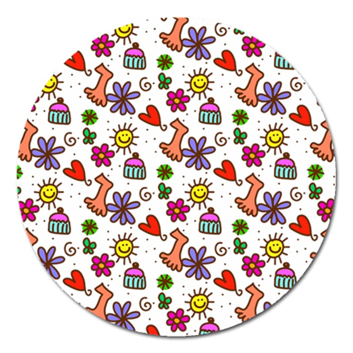 Doodle Pattern Magnet 5  (Round)