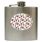 Doodle Pattern Hip Flask (6 oz) Front