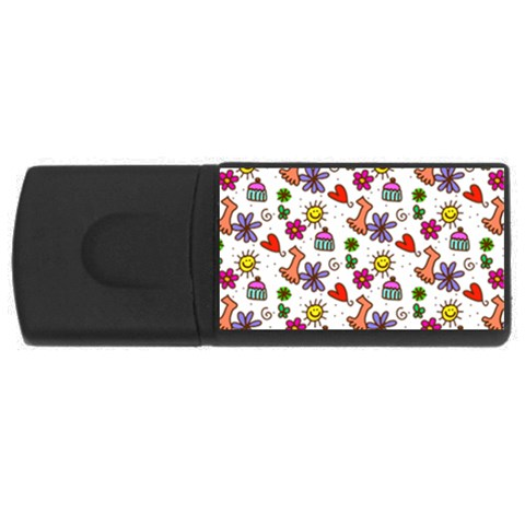 Doodle Pattern USB Flash Drive Rectangular (1 GB)