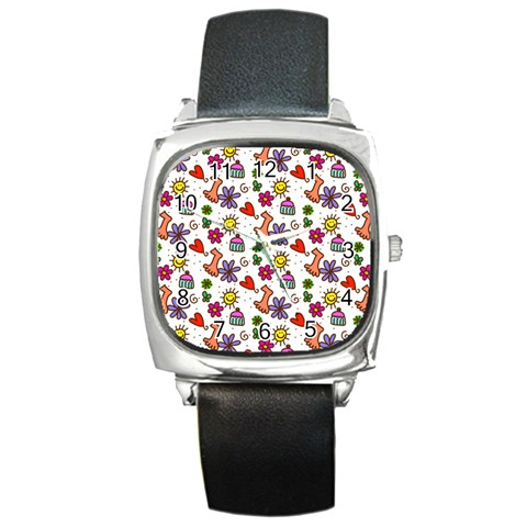 Doodle Pattern Square Metal Watch