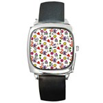 Doodle Pattern Square Metal Watch Front