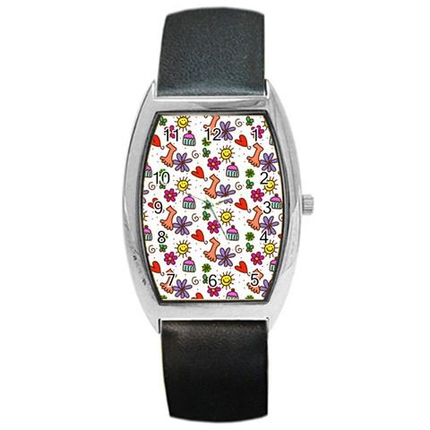 Doodle Pattern Barrel Style Metal Watch