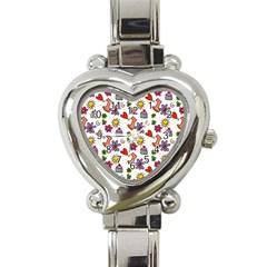 Doodle Pattern Heart Italian Charm Watch