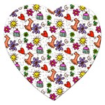 Doodle Pattern Jigsaw Puzzle (Heart) Front
