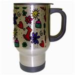 Doodle Pattern Travel Mug (Silver Gray) Right