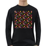 Doodle Pattern Long Sleeve Dark T-Shirts Front