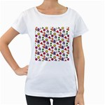 Doodle Pattern Women s Loose-Fit T-Shirt (White) Front