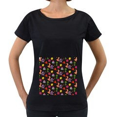Doodle Pattern Women s Loose-Fit T-Shirt (Black)