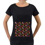 Doodle Pattern Women s Loose-Fit T-Shirt (Black) Front