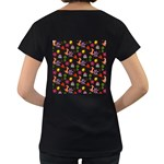 Doodle Pattern Women s Loose-Fit T-Shirt (Black) Back